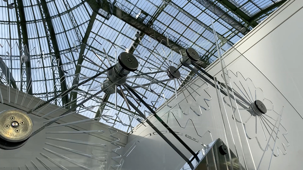The crazy clock by Philippe Parreno under the dome of the Grand Palais in Paris.