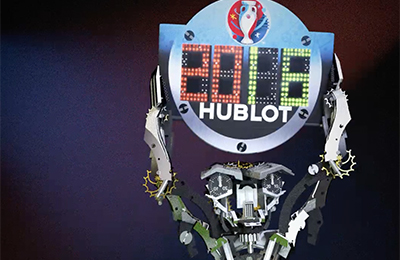 The Hublot Robot plays with the famous Euro 2016 referee's board.
