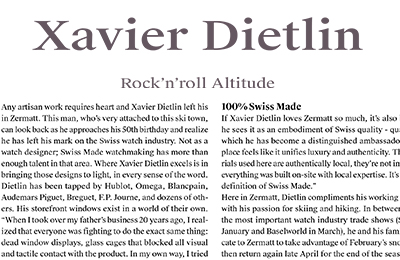 Helvet Magazine: Xavier Dietlin has revolutionized what it means to sell watches. Rock'n'roll Altitude.