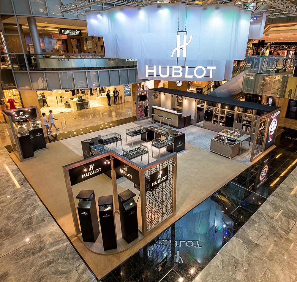 Hublot Pop-Up store Singapore with The Hour Glass.