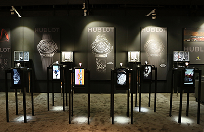 Hublot Raptor2 display cases at Timecrafters, america's premier luxury watch show in New York.