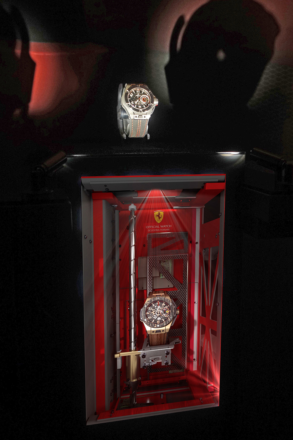 Hublot Raptor display case without glass for Ferrari which can retract within a tenth of a second.