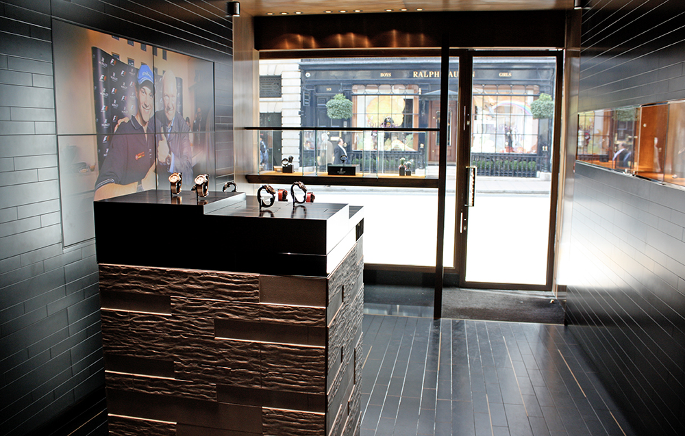 The New Bond Street Hublot boutique opened in 2011 in collaboration with Peter Marino.