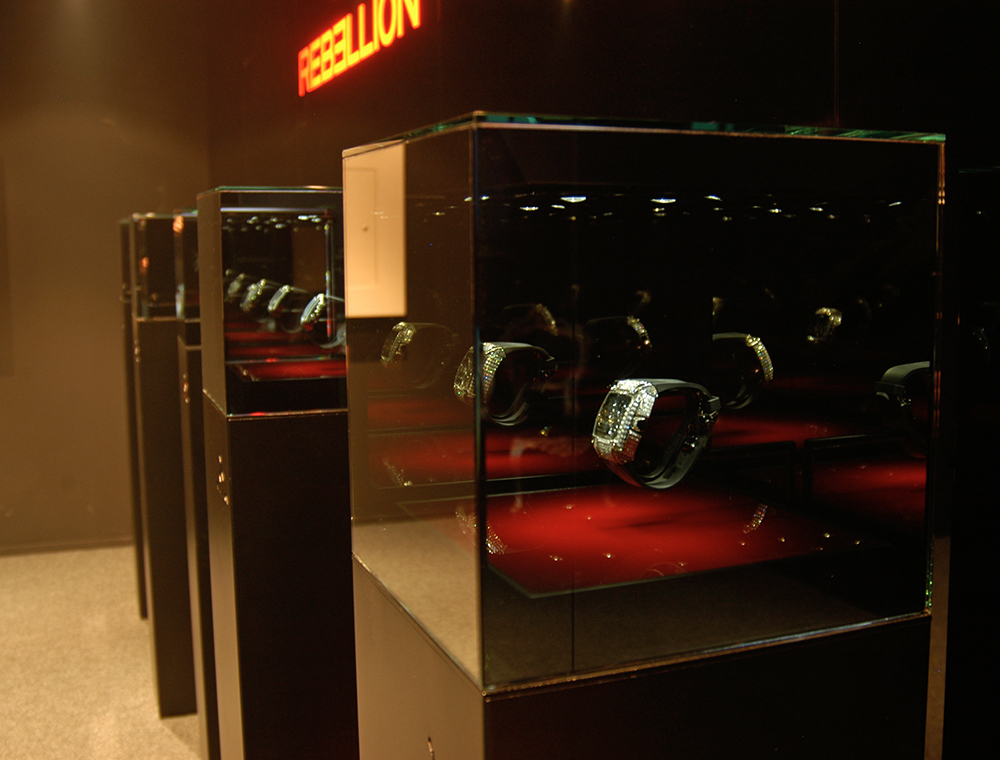 Rebellion uses Spy Glass display case at Baselworld.