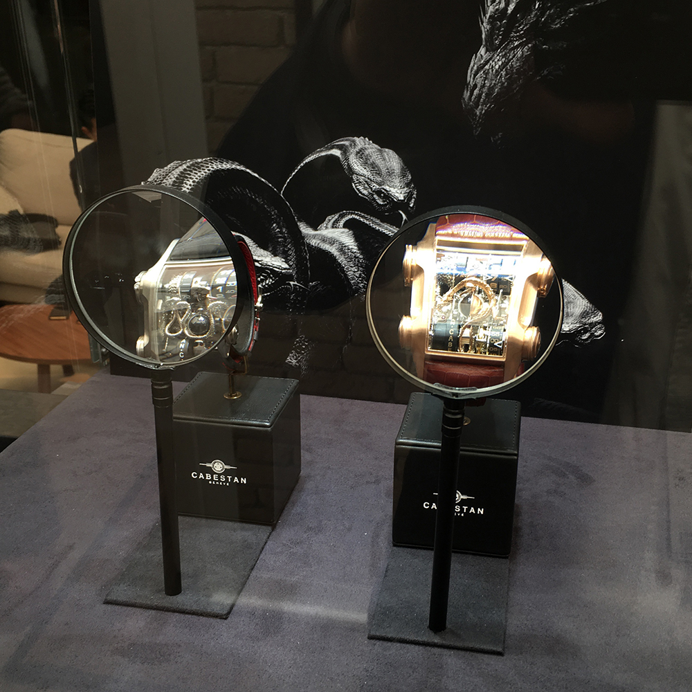 Cabestan at Baselworld 2016 Anthares display case with magnifying glass.