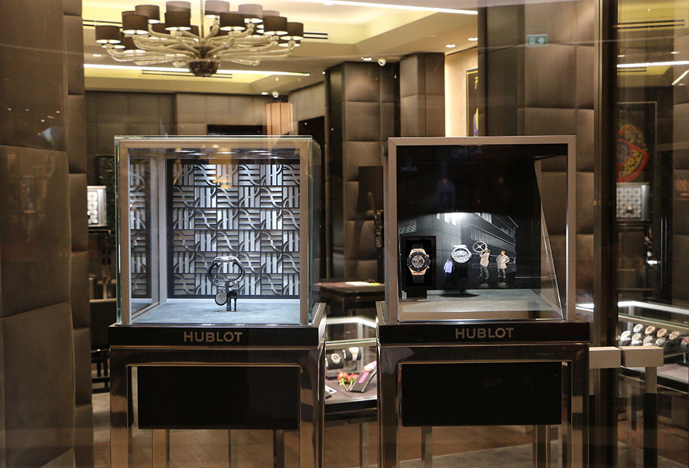 Hublot's watchmaker elves at The Hour Glass Hublot boutique in Bangkok.