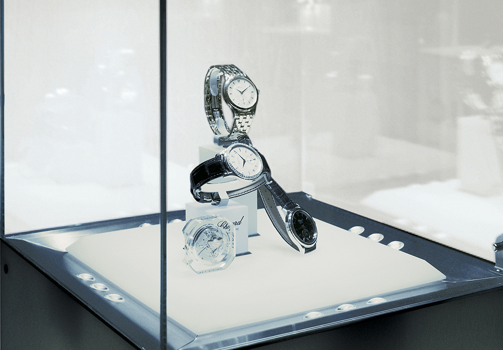 Chopard and its illuminated DMX display cases with bottom lighting.