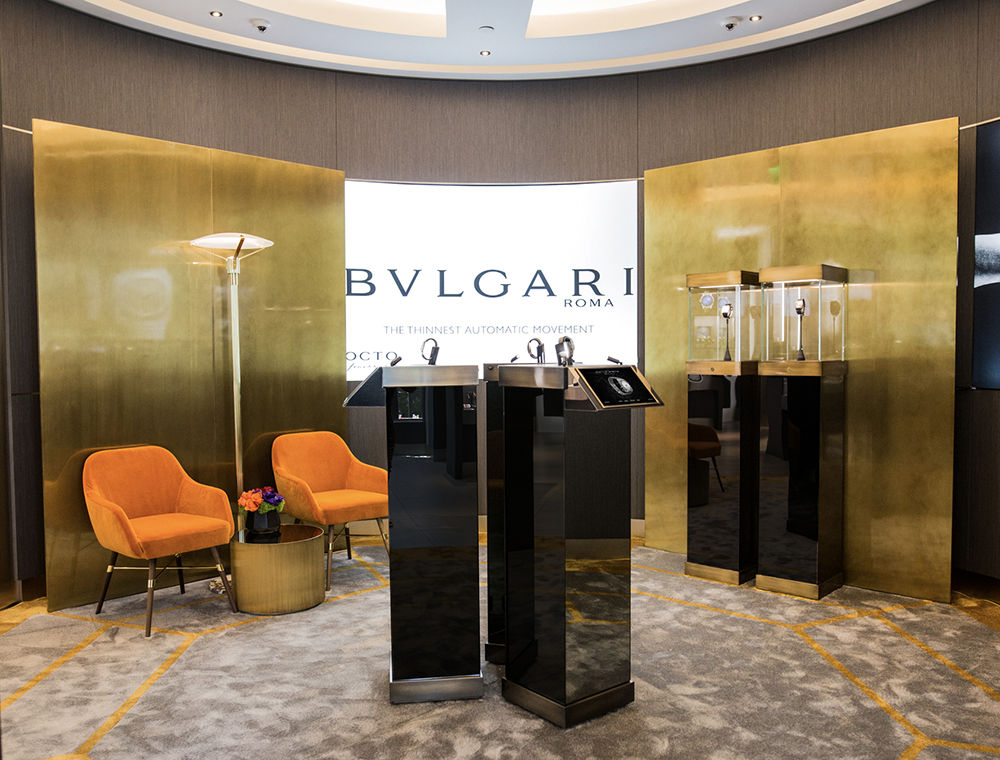 Bulgari opens First Ever Octo Lounge at Westime in Beverly Hills featuring flying access displays.