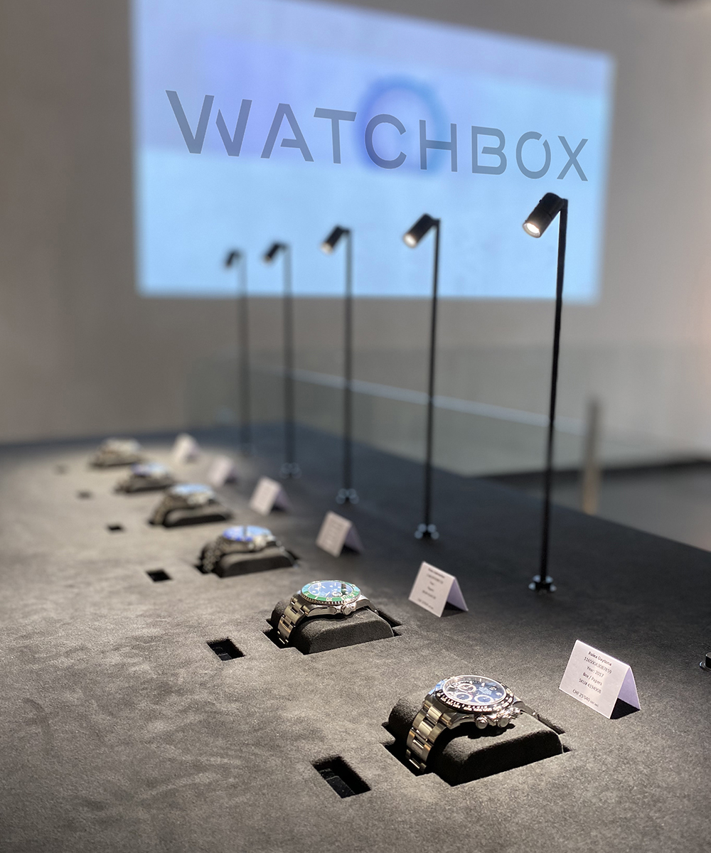 WatchBox, the preowned luxury watch e-tailer exhibits with free access displays at Espace Icebergues in Geneva.