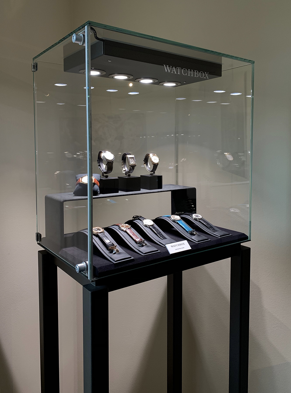 WatchBox, the preowned luxury watch e-tailer exhibits with free access displays at les Arcades de Beau-Rivage, Geneva.