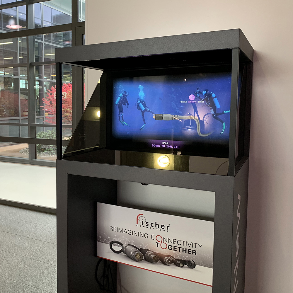 "Fischer Connectors inaugurated the new ""skin"" holographic display cases at their headquarters."