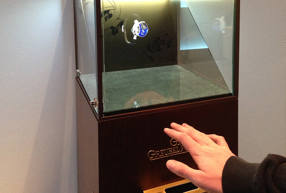The first holographic Motion Capture display for Greubel Forsey at SIHH 2014.