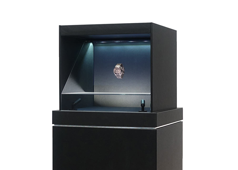 Maurice Lacroix brand's new model presented in a holographic showcase.