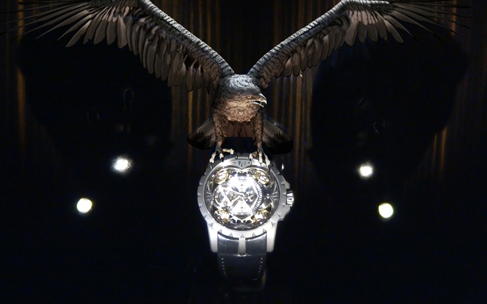 Smart holographic showcase for Roger Dubuis's geneva boutique.