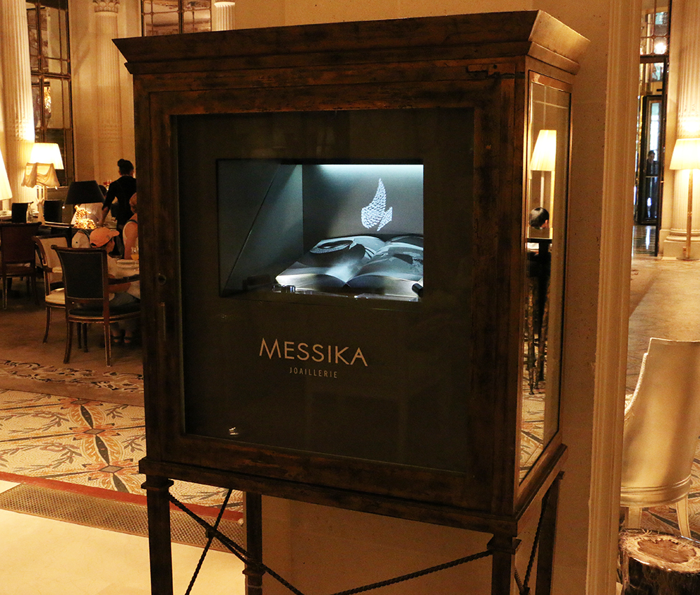 Messika holographic display case at Hotel Le Meurice in Paris.