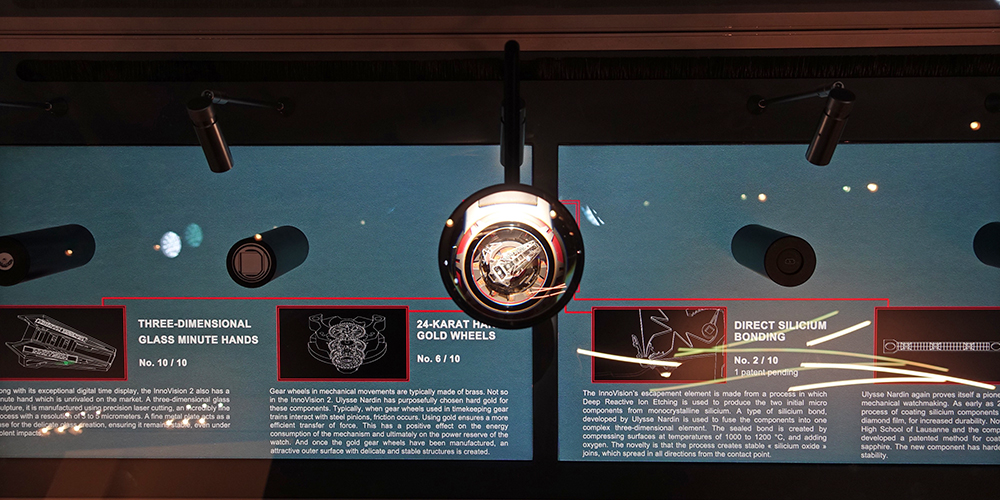 Ulysse Nardin and its interactive display featuring innovations.