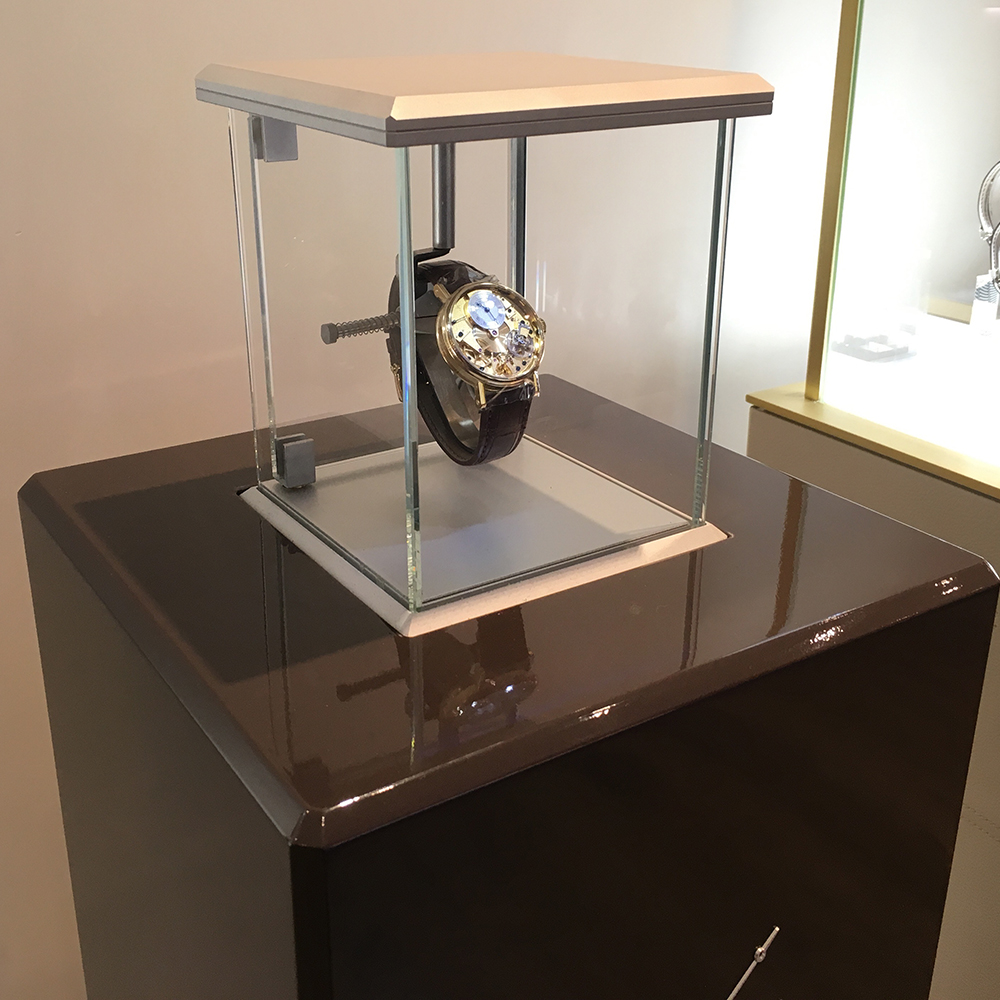 Breguet possesses a piece of the Risoud forest in its New York Pulsograph display case.