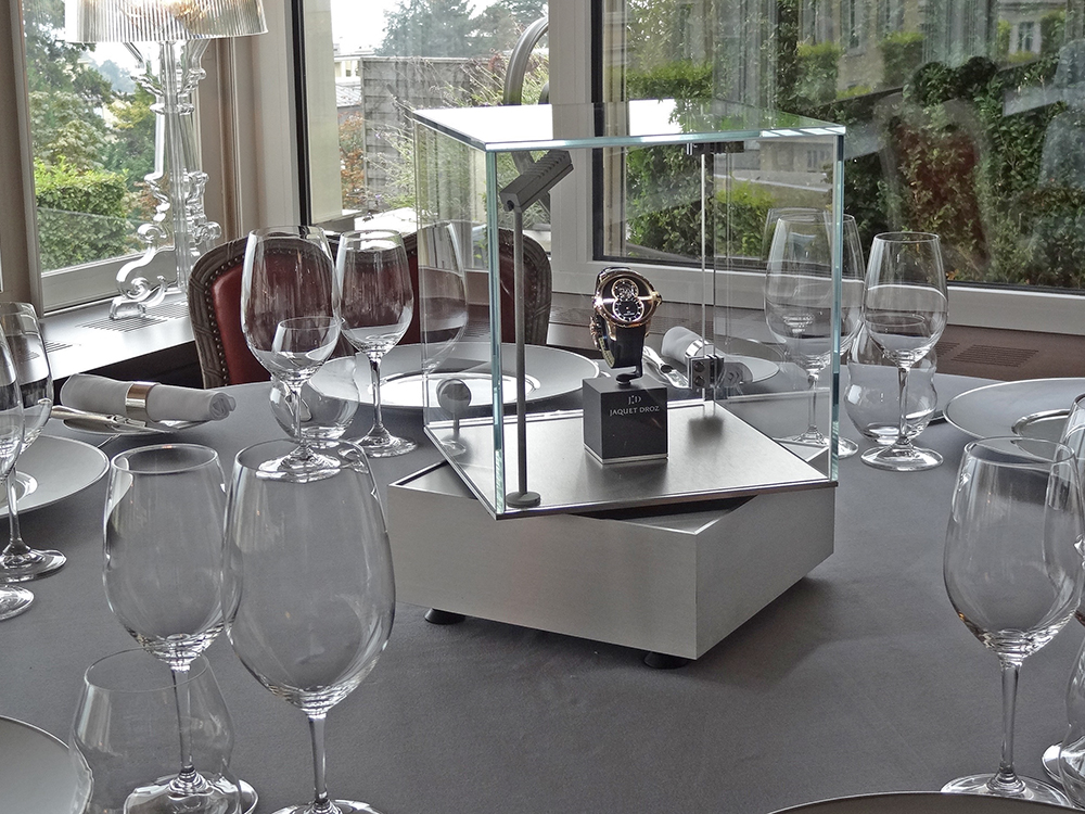 Jaquet Droz at La table d'Edgar, Lausanne-Palace with the rotative dinner display which operates for 15 hours on battery.