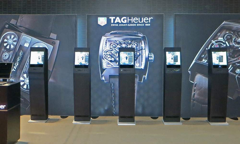 Tag Heuer Haute Horlogerie display-case with motion sensor reacts to movements at TimeCrafters, the Luxury Watch Show in NYC.