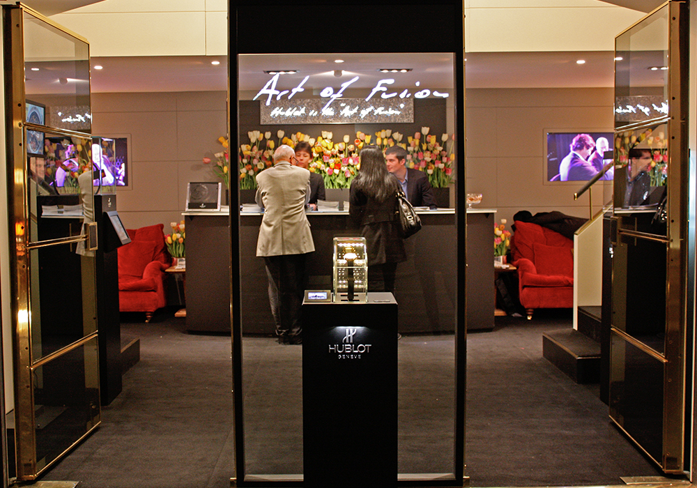 Hublot and its new WATCHTESTER display case enabling customers to test 4 watches on their wrist at Baselworld 2010.