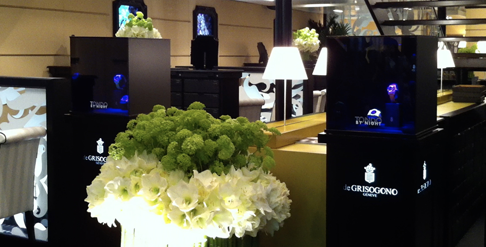 De Grisogono at Baselworld 2012 with ultra-violet display case.