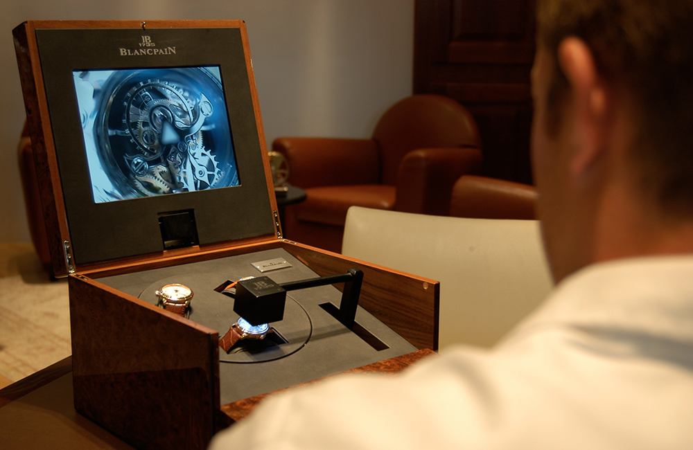 Boutique Blancpain with the discover display. Live camera system with remote control.
