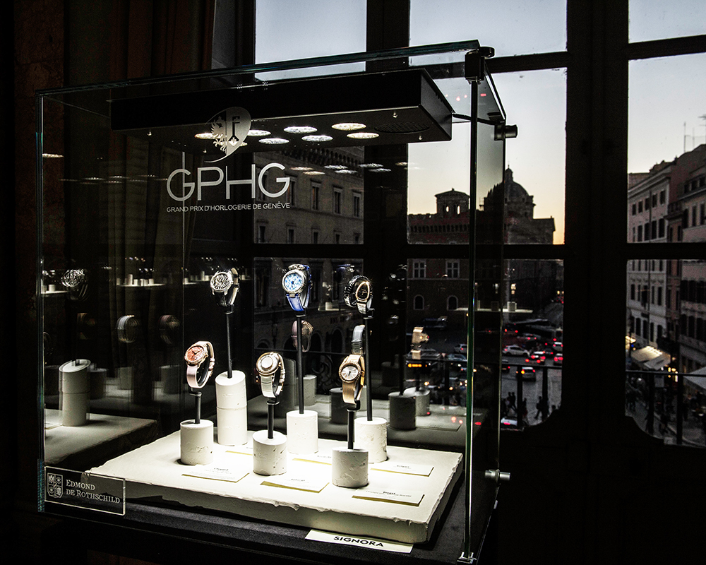 Grand Prix d'Horlogerie de Genève (Geneva Watchmaking Grand Prix) embellished by the Palazzo Colonna in Rome.