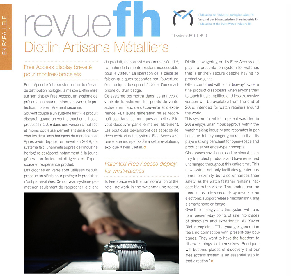 Revue - Federation of the Swiss Watch Industry: Patented Free Access display for wristwatches.
