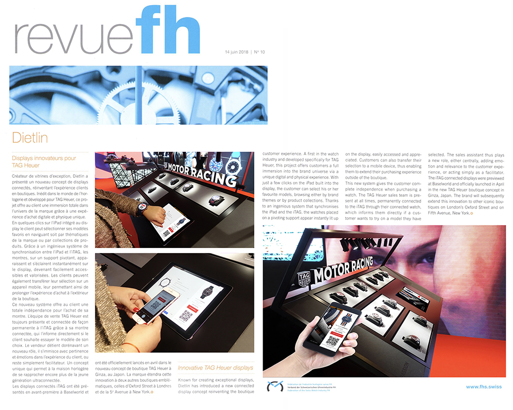 Revue FH (swiss watch federation): Dietlin, innovative TAG Heuer displays.