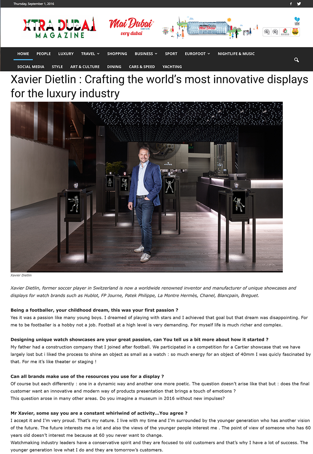 Xtra Dubai Magazine : Xavier Dietlin : Crafting the world's most innovative displays for the luxury industry.